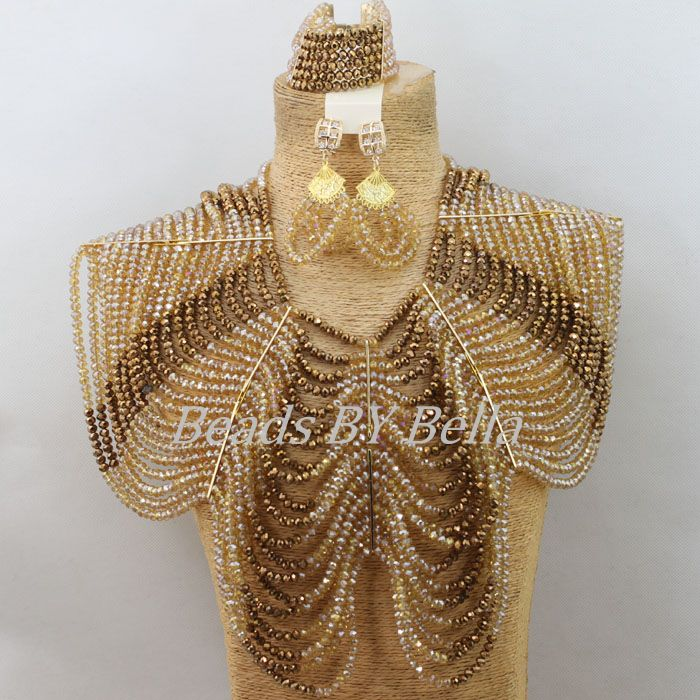 Big Chunky Gold Coffee Crystal Necklace African Wedding Beads Nigerian Women Costume Party Jewelry Set New Free Shipping ABF552