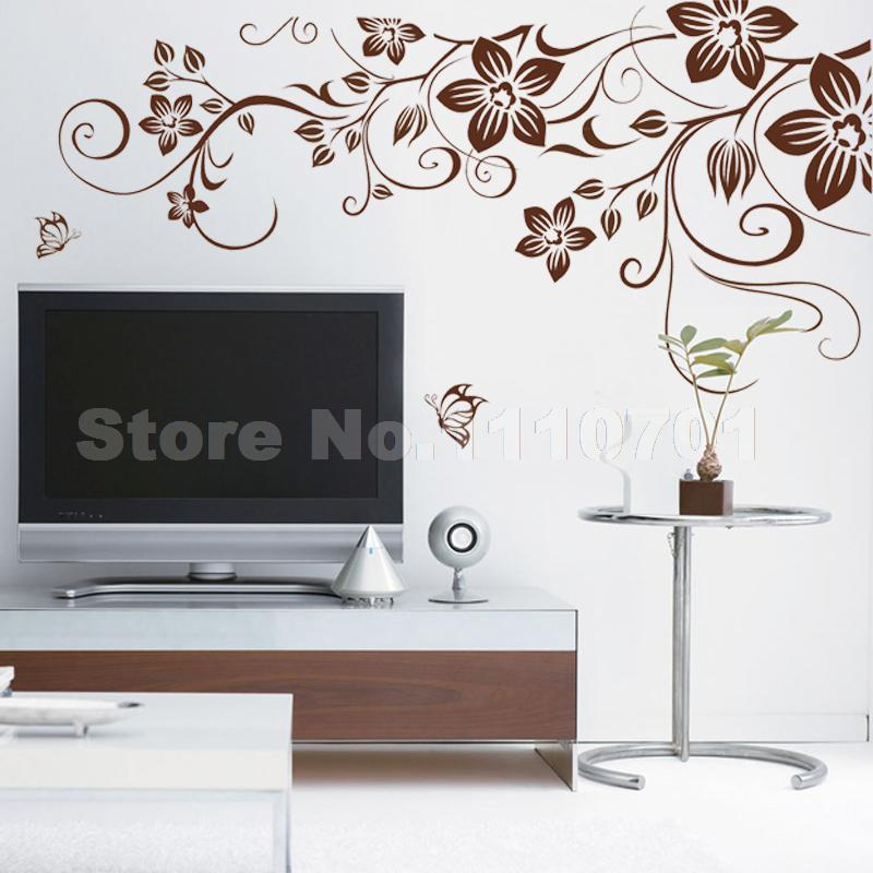 Brown Flower Vine DIY Vinyl Wall Stickers Home Decor Art Decals D - How to make vinyl wall decals at home
