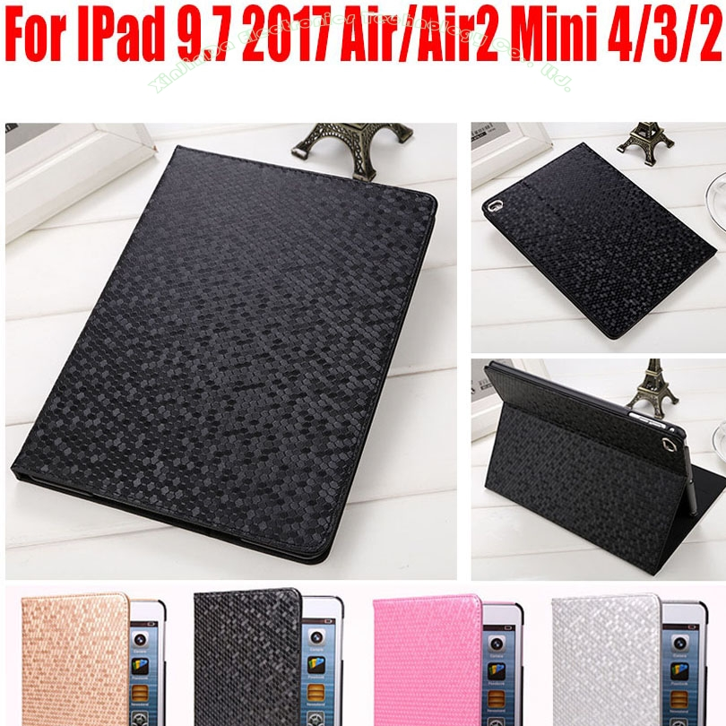 Fashion Diamond Style PU Leather Smart Case For IPad 9.7 2017 Air/Air2 Mini 4/3/2/1 Smart Flip Cover for iPad 4/3/2 IM413 retro style cards slot wallet bag smart cover pu leather case for ipad mini 4 3 2 1 im426