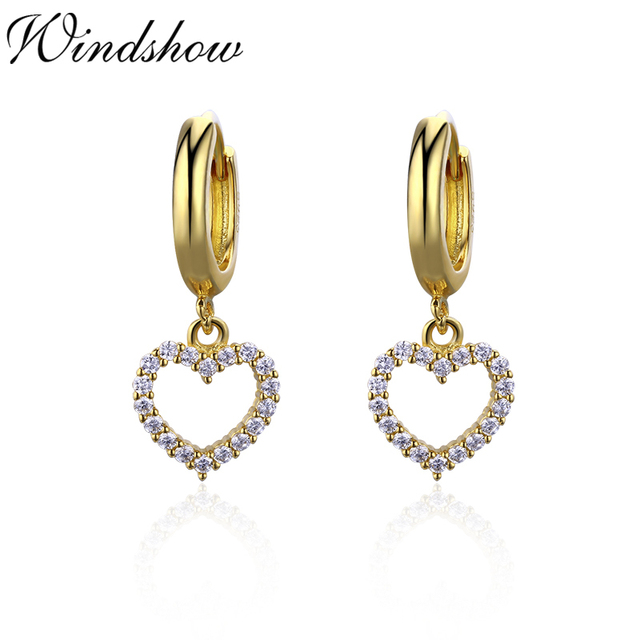 d3efbbd11 Cute 925 Sterling Silver Gold Color CZ Heart Charms Circles Small Loops Hoops  Earrings For Women Jewelry Kids Girls Aros Aretes