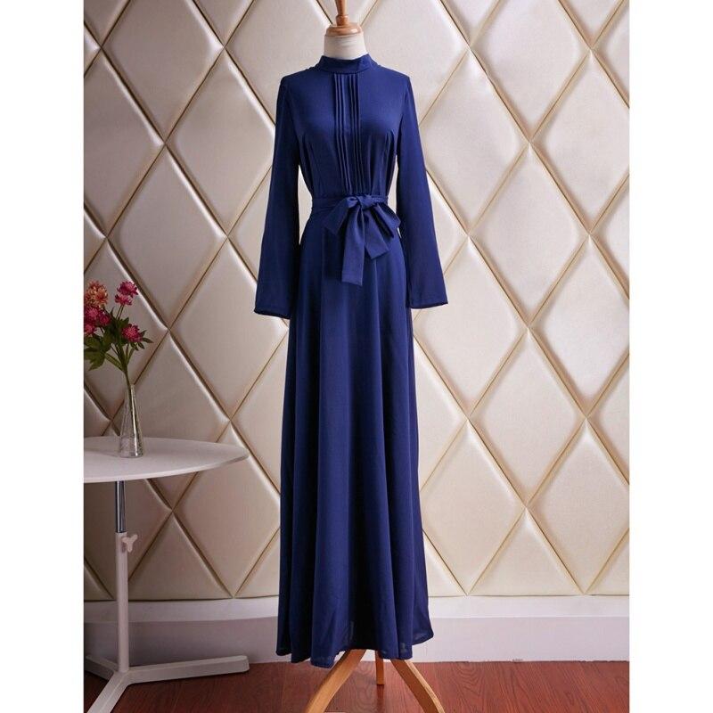 Краткое Для женщин с длинным рукавом Смешанный хлопок голубое платье Вечеринка полной длины макси платья PY5