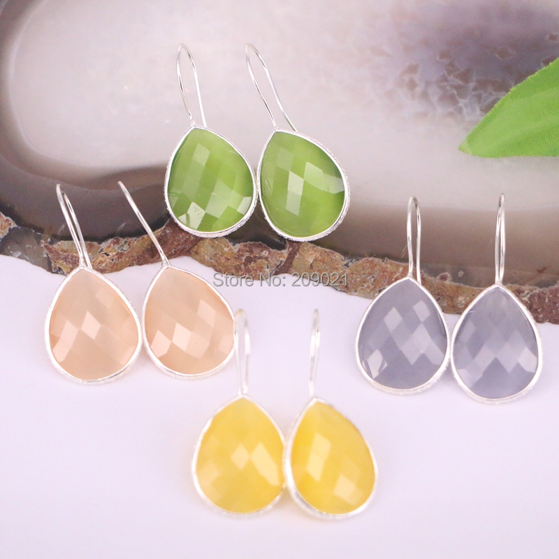 For Women 10Pair Silver Color Cat Eye Stone Water Drop Dangle Earrings Charm Jewelry Gem Earring