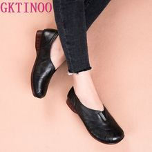 GKTINOO 2020 New Spring Soft Soles Genuine Leather flat Shoe Fashion Casual Handmade Women Shoes Women Flats Driving Shoes