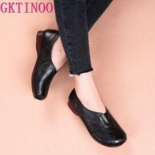 Gktinoo 2020 nova primavera solas macias couro genuíno sapato plano moda casual artesanal sapatos femininos apartamentos sapatos de condução