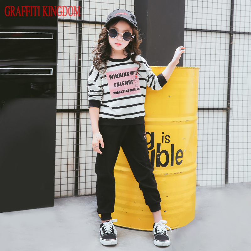 Girls two piece set top and pants Autumn New 2017 teenage girls casual Cartoon Clothes Sets children boutique clothing brand