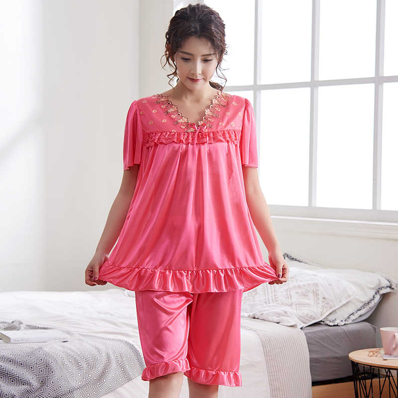 For 40-110kg lady Big Size 5XL Women Sexy Satin Lingerie Underwear Cool Loose Nightwear Sleepwear Short Sleeve Solid Lace Set