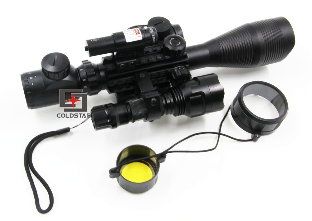 C4-12x50EG Optical Rifle Scope w/ Laser & LED Flashlight 5Mode C8 CREE T6 Torch Flash Light for Hunting Rifle Gun
