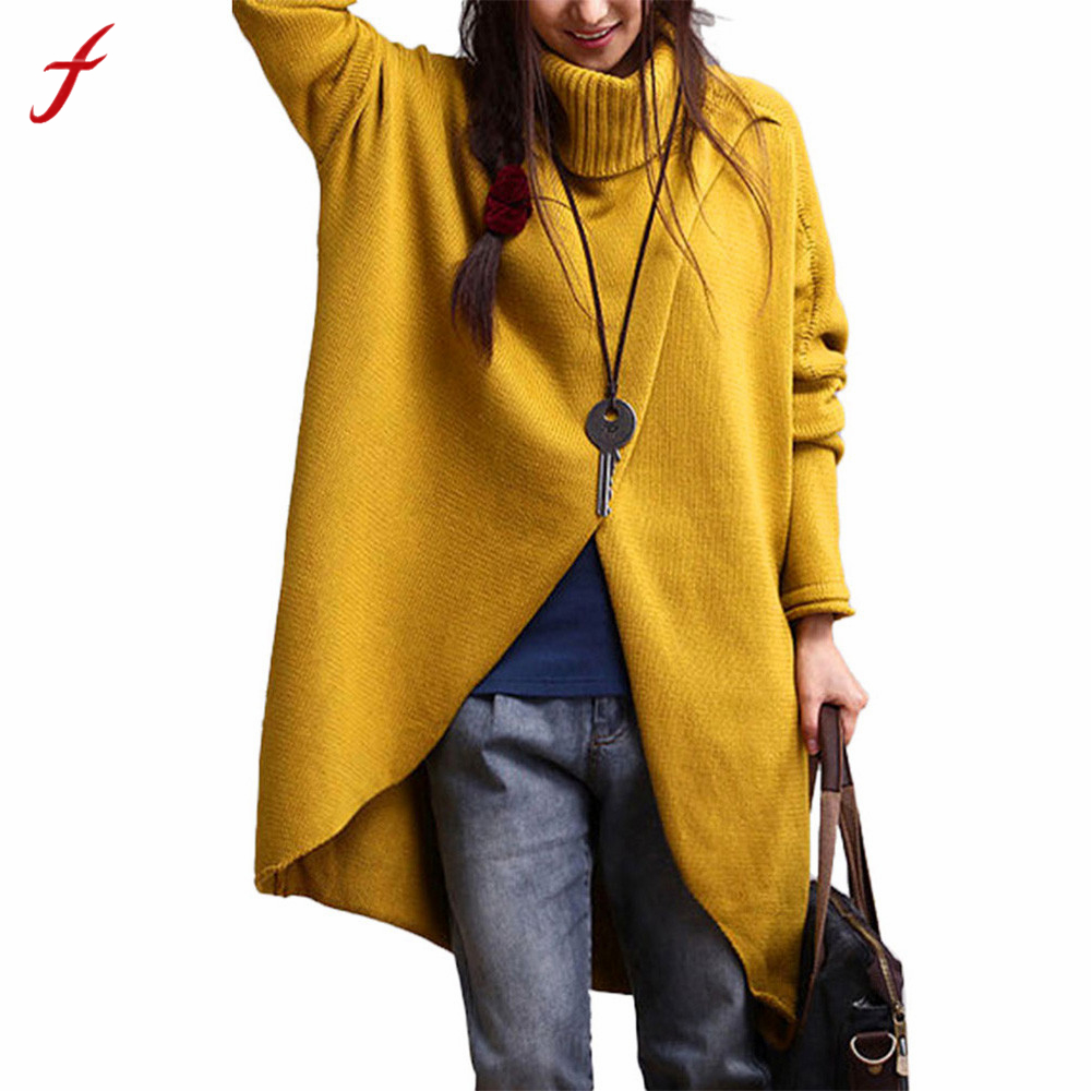 Feitong Winter Sweater Women Solid Asymmetric Turtleneck Pullover High Quality Knitting Wool Jumper Long Sleeve Pull Femme Hiver