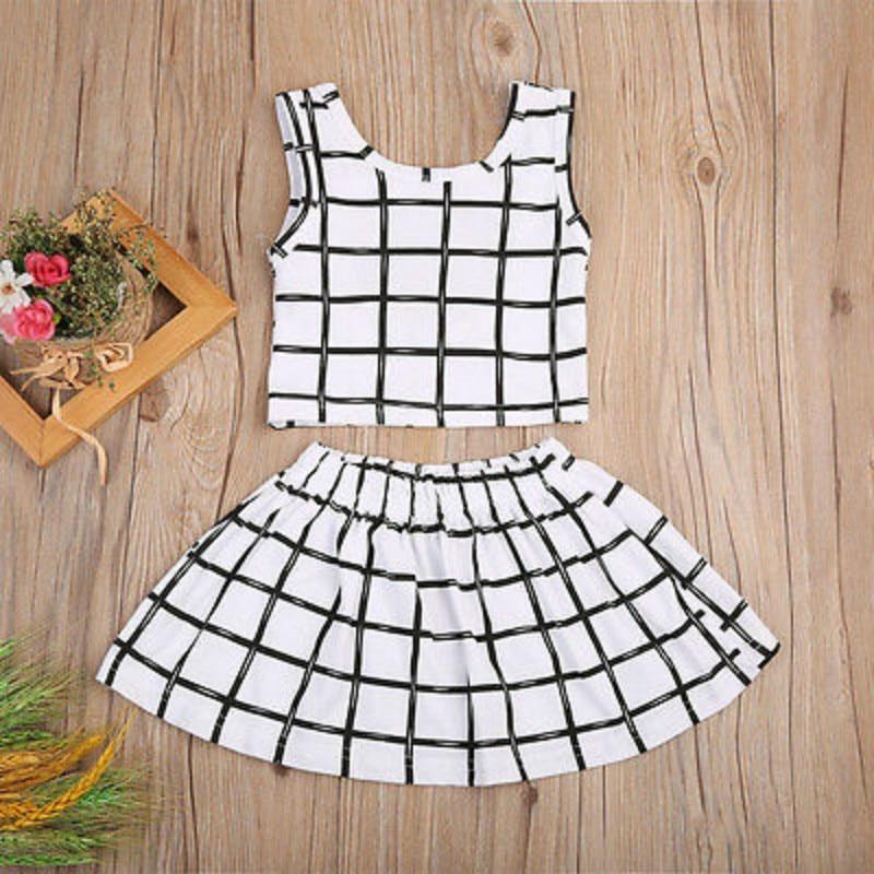 Newborn Infant Baby Girls Kids Cotton Plaid Backless Vest Tops +Short Mini Skirt Tutu Dress 2PCS Outfits Set Clothes Sunsuit NEW