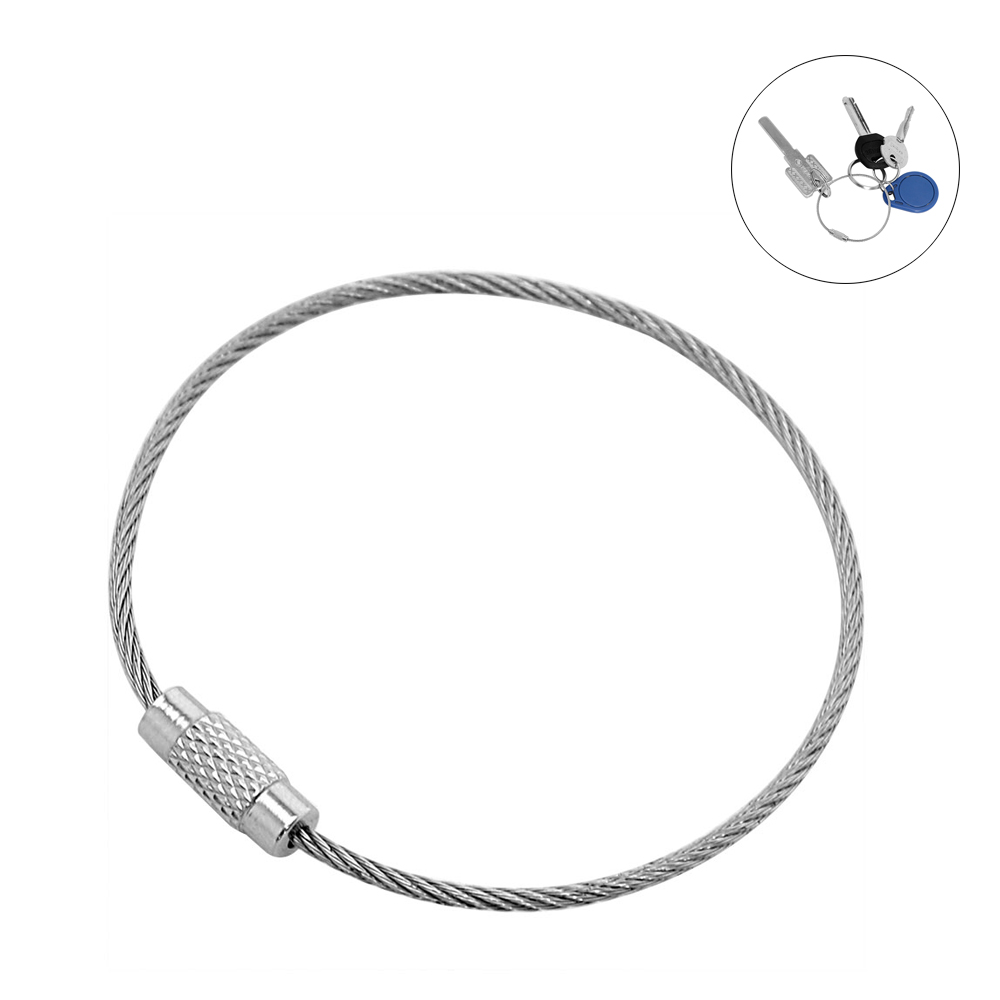 10PCS Stainless Steel Wire Keychain Cable Ring For Outdoor Twist Screw Locking