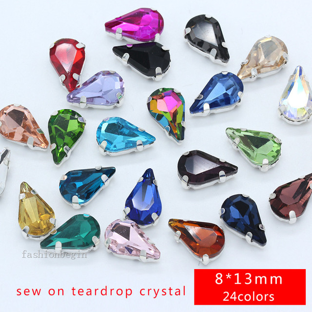 20p 8x13mm 24colors teardrop crystal cut glass stone sew on flatback  rhinestones silver plate Dress applique jewelry Crafts Gems 4c54d5362386