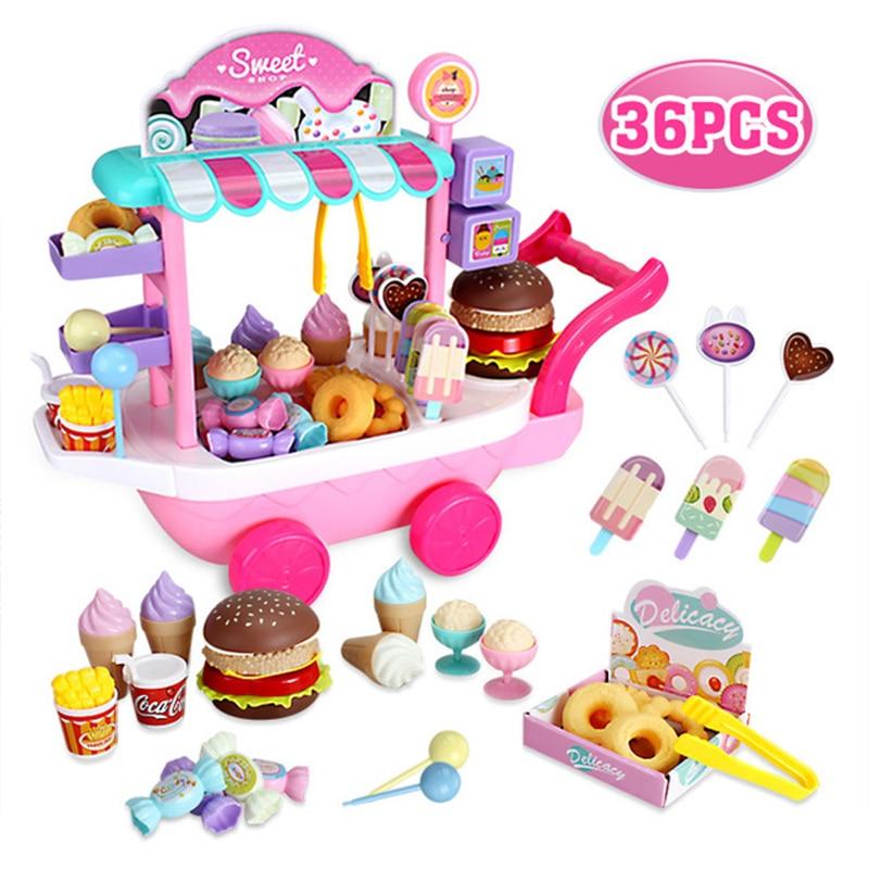 36Pcs Miniature Cart Ice Cream Dessert Lollipop Baby Kitchen Pretend Play Push Food Girl Toys For Children Furniture Gift|Kitchen Toys| |  - title=