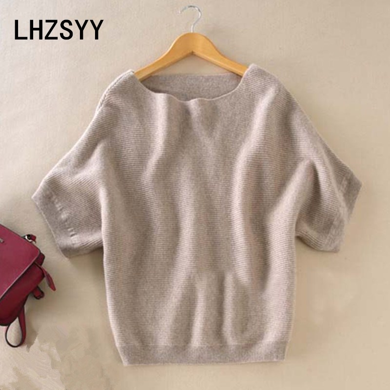 LHZSYY Seasons A Word collar Cashmere Sweter New Women Loose big Yards Bat Shirt Solidna dzianina z krótkim rękawem Dzianina Hedging dzikie swetry