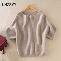 LHZSYY Seasons A Word collar Cashmere Sweater New Women Loose big Yards Bat Shirt Solid Short sleeved Knit Hedging wild Sweaters