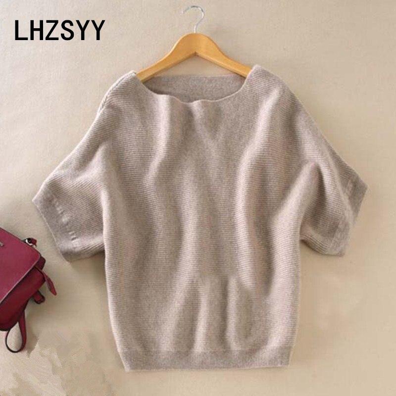 LHZSYY Seasons A Word collar cachemir suéter nuevas mujeres sueltas grandes yardas Bat camisa sólida de manga corta de punto Hedging wild suéteres