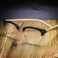 Diseño clásico De Madera Del Templo Marcos de Los Vidrios Lentes Unisex Gafas de Prescripción