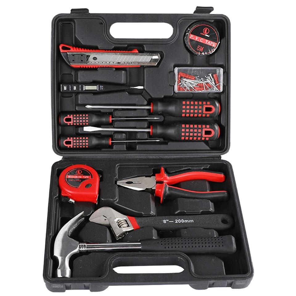 47 pièces professionnel outils de réparation ensemble ménage combinaison outils à main boîte à outils tournevis pinces couteau marteau main outils Kits ensemble
