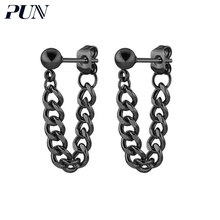 PUN bts stud earrings 2018 brincos earing fashion earring stainless steel korean kpop male earrings for men black punk jewellery(China)