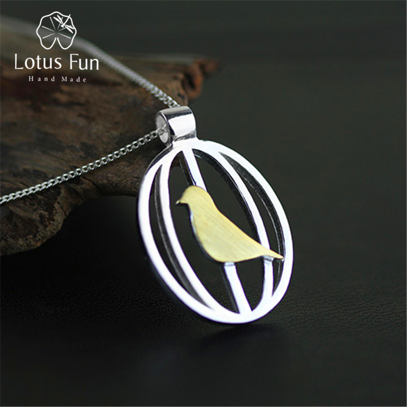 Lotus Fun Real 925 Sterling Silver Handmade Fine Jewelry Cute Bird Design Pendant without Chain Acessorios for Women lotus fun real 925 sterling silver handmade fine jewelry creative cat playing balls pendant without chain acessorios for women