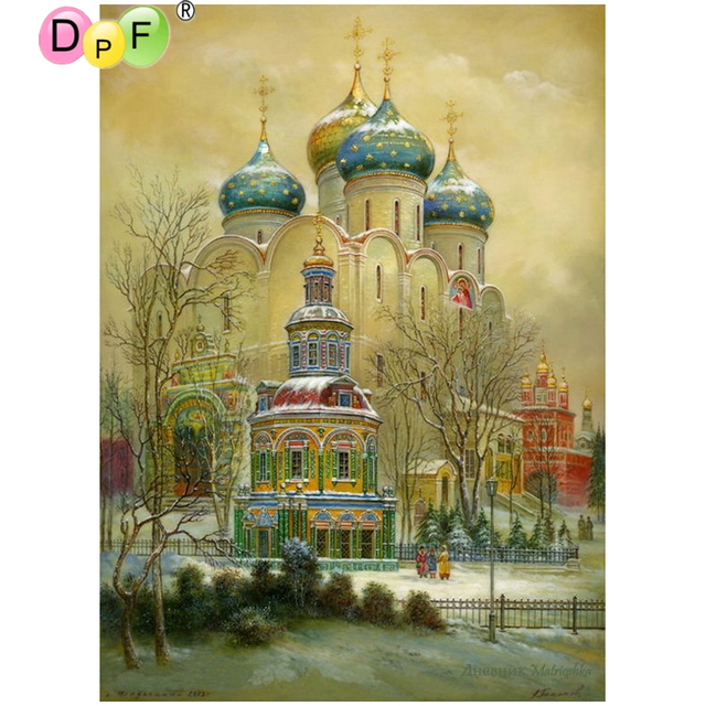 dpf diy india s castle 5d diamond painting cross stitch crafts 3d