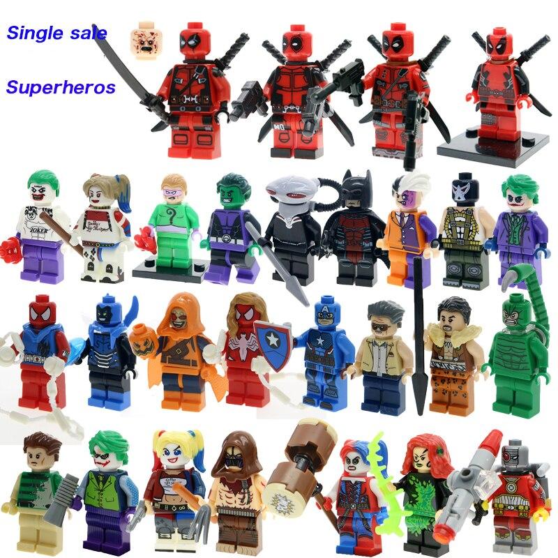 Super Heroes Deadpool X Men Suicide Squads Harley Quinn Batman Joker Figures Single Sale Legoinglys Building