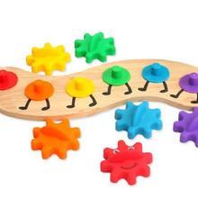 Деревянные и пластиковые шестерни Набор игрушек восприятие цвета Обучающие игрушки Монтессори материал учебные материалы