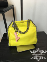MINI 18 CM yellow shaggy quality PVC Luxury metal chain crossbody shoulder bag
