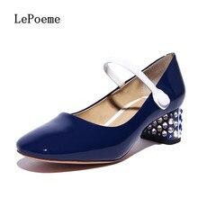 ผู้หญิงหนังแท้แมรี่เจนส์รองเท้าแฟชั่นRhinestoneหัวเข็มขัดสายรัดรองเท้าไม่มีส้นรองเท้าแหลมนิ้วเท้าo xfordsสีฟ้าสีขาวปากตื้น