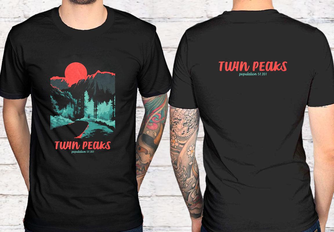 2 Side Twin Peaks Population Black T Shirt Tee Shirt Xs 3Xl