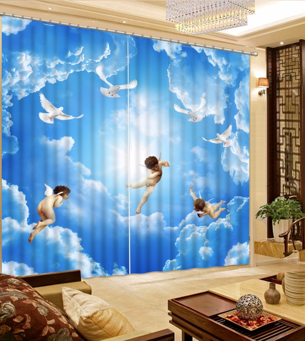 3D Curtains Customize Angel white dove white clouds 3D Curtains For ...