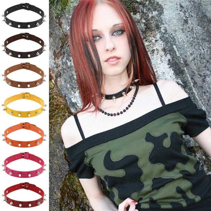 Handmade Cone Bullet Stud Rivet Spikes Punk Collar Choker Necklace Harajuku Pu Leather Choker Punk Goth 41*2cm