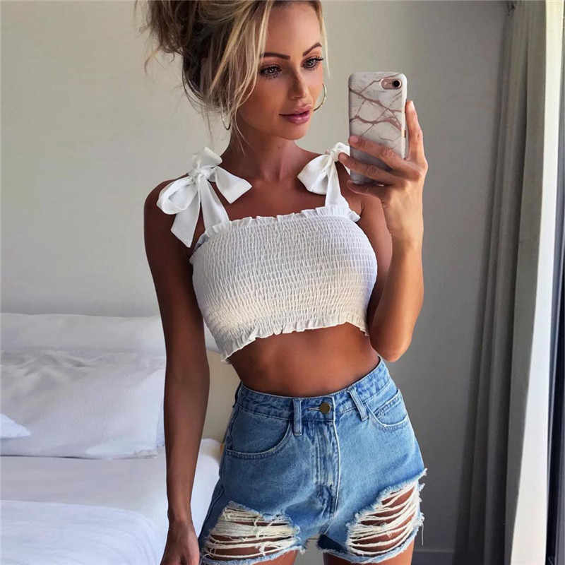 Tube Crop Tops Women Bow Tie Strap Ruched Tank Tops Lettuce Edge Elastic Camis K