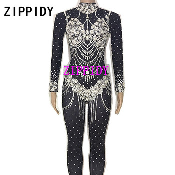 Black Or Nude Sparkly Crystals Stretch Jumpsuit Big Stones Women's Party Celebrate Wear Nightclub Singer DS Show Sexy Stage Wear