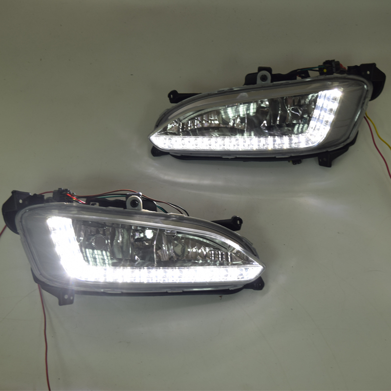 QINYI LED Daytime Running Light For Hyundai Santa Fe IX45 2013 2014 2015 Car Accessories Waterproof