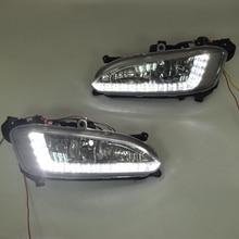 QINYI Светодиодный дневной светильник для hyundai Santa Fe IX45 2013, автомобильные аксессуары Водонепроницаемый 12 В DRL Противотуманные фары украшения