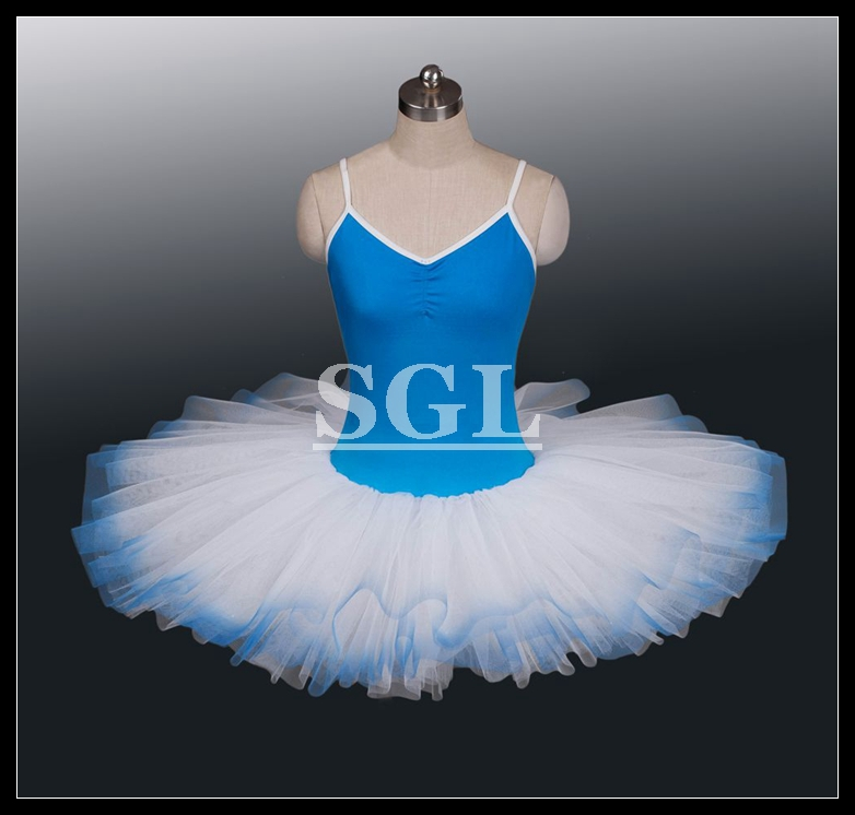 free shipping adult rehearsal tutu girls blue color practicing tutu skirts child kids size 8