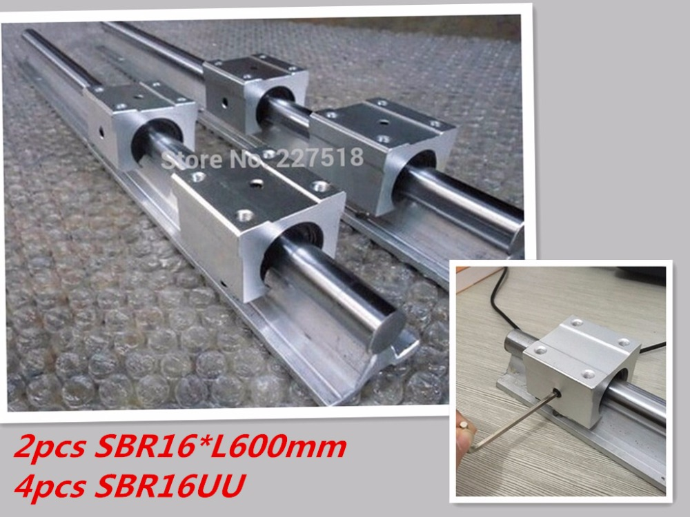 2pcs linear rail SBR16 L600mm + 4 pcs SBR16UU linear bearing blocks for cnc parts 16mm linear guide 2pcs linear rail sbr16 l1500mm 4 pcs sbr16uu linear bearing blocks for cnc parts 16mm linear guide