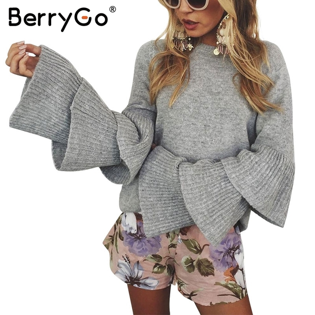 BerryGo Loose flare sleeve knitting winter sweater Women elegant autumn  pullover mujer invierno 2017 Soft pull knit shirt jumper 947f14d09