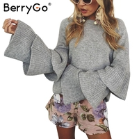 BerryGo Loose Flare Sleeve Knitting Winter Sweater Women Elegant Autumn Pullover Mujer Invierno 2017 Soft Pull