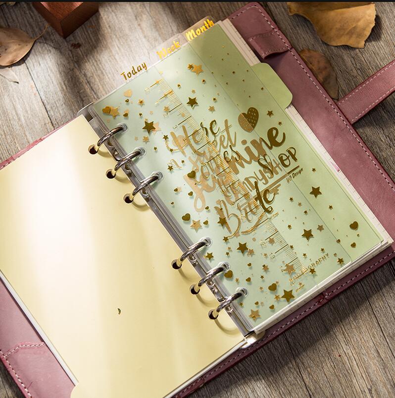 3pcs Bronzing Today Week Month Index Pages Dividers For Spiral Notebook A6 Planner Accessories Vintage Spiral Ruler Stationer