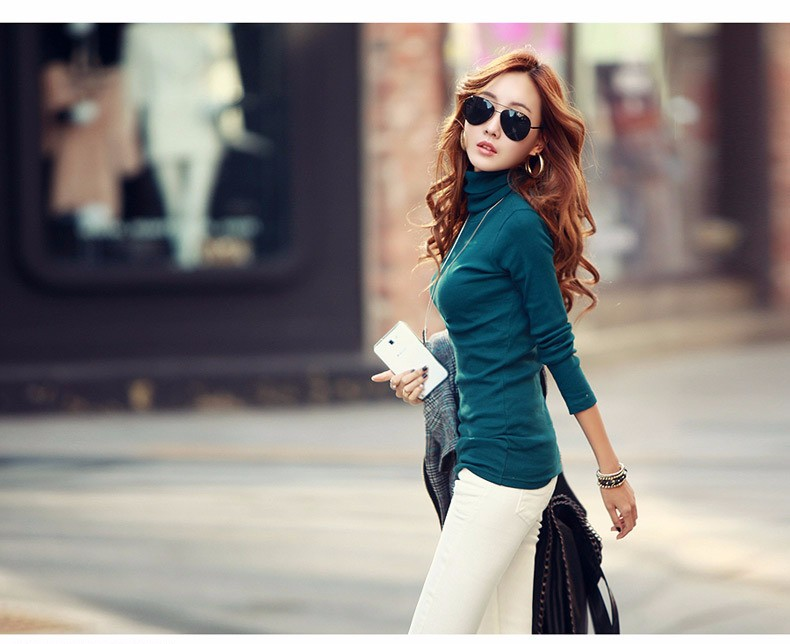 Spring Autumn Winter Fashion Turtleneck Tops Long Sleeve Cotton T Shirt Slim Casual t-shirt women 2016 Basic Tees Shirts A550 g