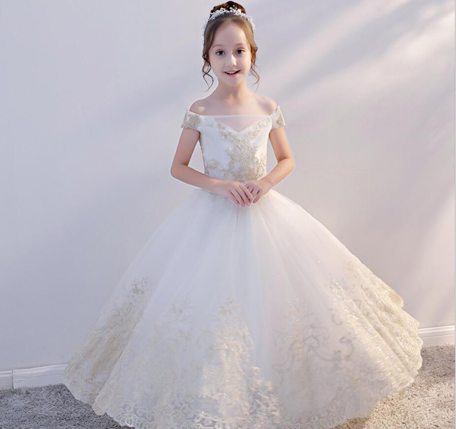 Broderie une épaule robe pour enfants princesse robes formelles fleur enfants mariage soirée robe de bal filles fête de noël