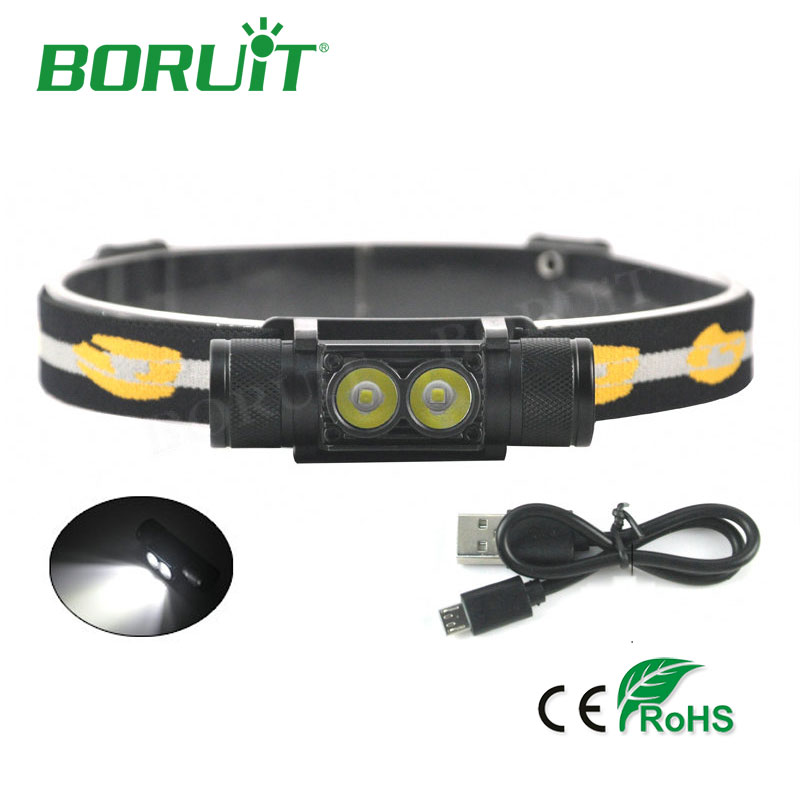 BORUiT 1000lm 2 XP-G2 LED Headlamp 6-Mode USB Rechargeable Headlight For Hunting Fishing Camping Head Lamp Torch Light By 18650 boruit mini 800 lumen q5 led headlight 3 mode rechargeable zoomable headlamp white light for hunting fishing head torch lanterna