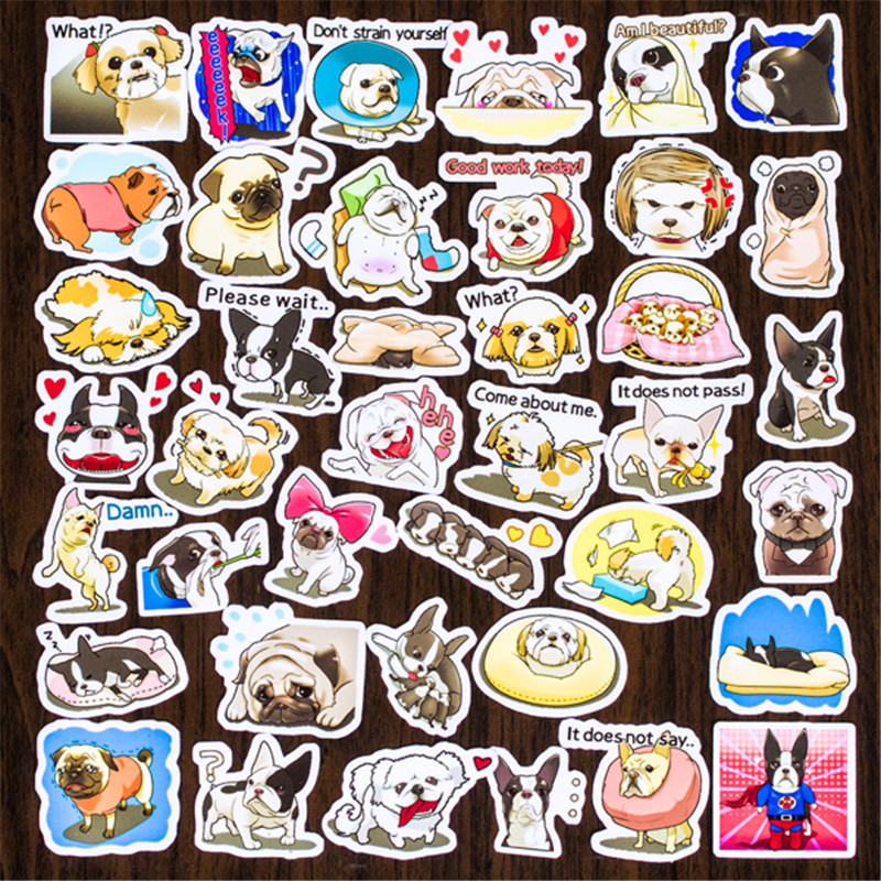 Hot Sale 40 Pcs French Dog Sticker Mixed Funny  Decals Luggage Laptop Car Styling /Eason Stickers/DIY Scrapbooking