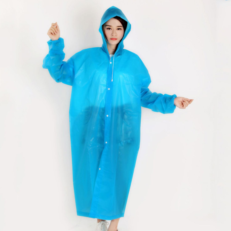 Unisex Rain Coat Many Color Waterproof Light Thick EVA Raincoat Men Women Outdoor Hiking Rain Trekking Rainproof Jacket With Hat