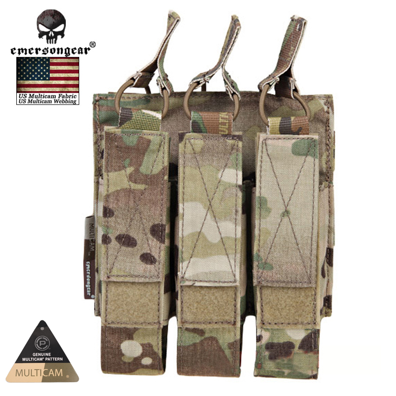 EMERSONGEAR US Multicam Genuine Fabric Airsoft Hunting Magazine Pouches Combat Modular Triple MAG Pouch For MP7