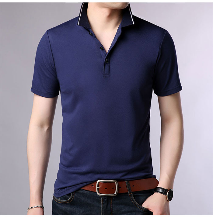 Baishanglin Brand clothing Men Polo Shirt Men Business Casual Solid Color Male Polo Shirt Short Sleeve High quality Pure Cotton 10