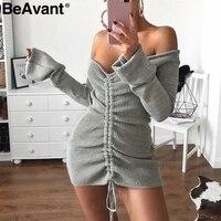 BeAvant Off shoulder long sleeve sweater dress Women winter short knitted dress 2018 Backless knit sexy dress red pull femme