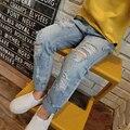 2016 Новый Стиль Девушки Джинсы Дети Шутник рваные джинсы Эластичный Пояс Моды Брюки Высокое качество горячей продажи