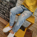 2016 New Style Girls Jeans Kids Joker ripped jeans Elastic Waist Fashion Pants High quality hot sale
